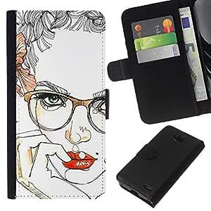 iBinBang / Flip Funda de Cuero Case Cover - Labios Gafas floral de las rosas Mujer atractiva - LG OPTIMUS L90