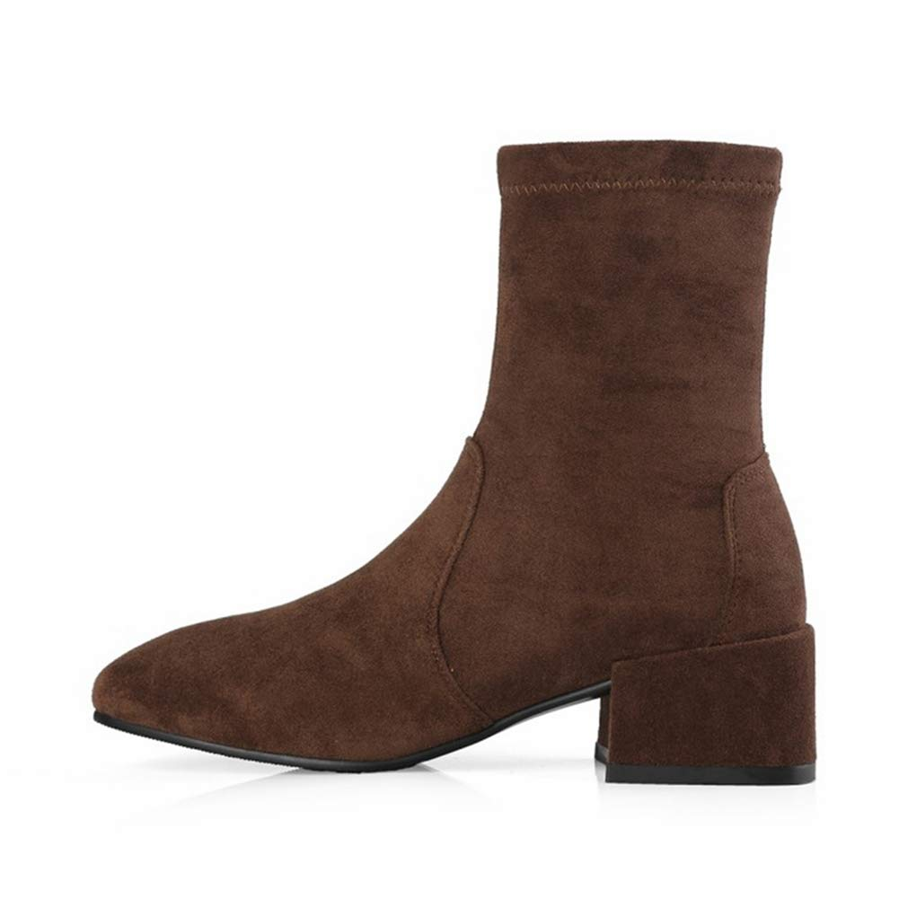 LVYING Womens Fashion Pointed Toe Ankle Boots Flock Comfortable Chunky Heel Non-Slip Winter Warm Shoes