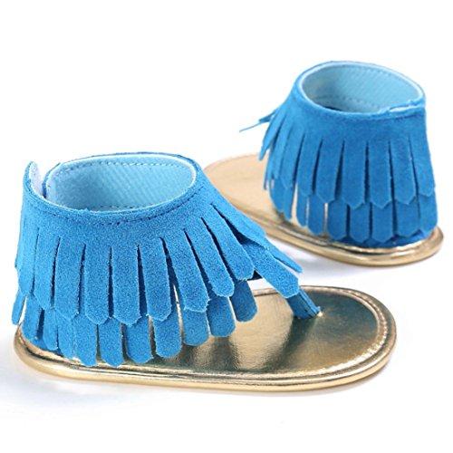 Saingace Kleinkind Mädchen Krippe Schuhe Neugeborene Blume Soft Sohle Anti-Rutsch Baby Sneakers Sandalen Blau