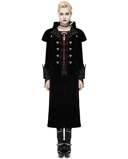 Devil Fashion Womens Coat Long Jacket Red Black Velvet Goth Steampunk Aristocrat