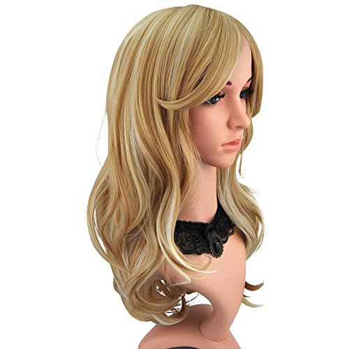 (Enilecor 2 Tones Blonde Mixed Golden Highlights Wigs 20 Inch Medium Long Curly Natural Women Heat Resistant Synthetic Hair Cosplay Party Wig with Side Bangs+ Wig Cap)