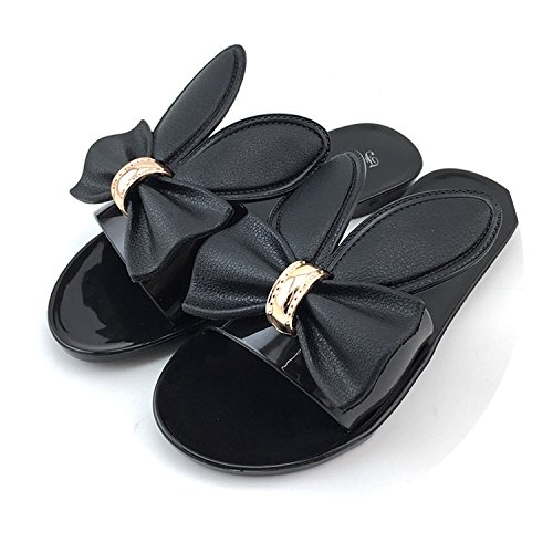 Shoes Slippers Beach Shoes Slippers Flower Flat Heels Flip Flops Casual Comfortable Beach Sandals,Black,5.5 (Best Torch In India)
