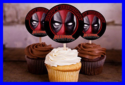 Crafting Mania LLC. 12 Deadpool Birthday Inspired Party Picks, Cupcake Picks, Cupcake Toppers #1