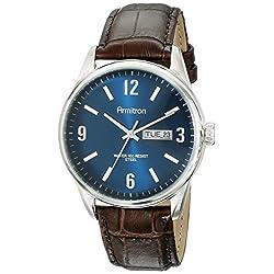 Armitron Men's 20/5048NVSVBN Day/Date Function Brown Croco-Grain Leather Strap Watch