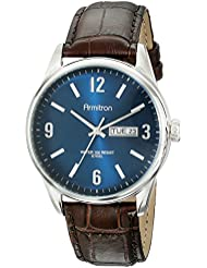 Armitron Mens 20/5048NVSVBN Day/Date Function Brown Croco-Grain Leather Strap Watch