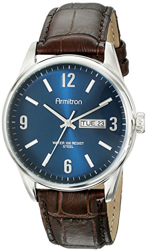 Armitron Men's 20/5048NVSVBN Day/Date Function Brown Croco-Grain Leather Strap Watch