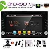 Newest ANDROID 7.1 WIFI Model OCTA Core 2GB+32GB Double 2din Car DVD Player Stereo GPS Navigation for Universal car with FREE Rear Camera Remote Control support BT Dual Cam-IN Phone Mirror 1024600