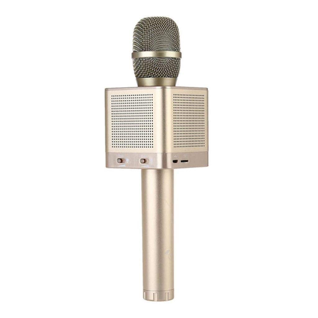 Rsiosle Wireless Bluetooth Karaoke Microphone Portable Home KTV Karaoke MIC with 4 Speakers Voice Change Compatible with Android and iOS ( Color : Gold )