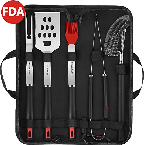 Homemaxs BBQ Tools Set - 5pcs BBQ Grilling Tool Set with Case, Stainless Steel Heavy Duty Barbecue Grilling Accessories Utensils Kit with Tongs, Grill Cleaning Brush, Spatula, Fork, Basting Brush(FDA)