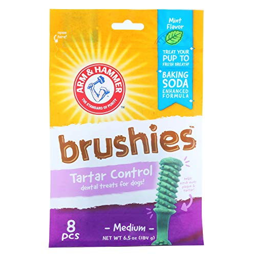 (Arm & Hammer Brushies Dog Dental Chews | Dog Dental Treats that Fight Bad Breath & Clean Teeth without a Toothbrush | Mint Flavor, 8 Pcs)