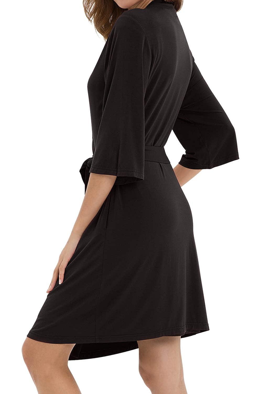 WiWi Womens Kimono Robe with Side Pockets Bamboo Lightweight Robe Short Knit Bathrobe Soft Sleepwear Ladies Loungewear
