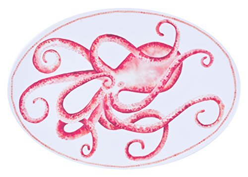 Encore Concepts Coastal Melamine Octopus Serving Platter - Swimmingly Collection - 20 x 14 Inches - Look & Feel of Hand Painted Ceramic or Stoneware