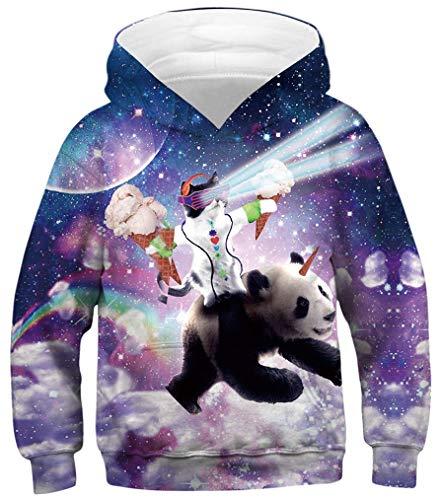 HaniLav Boys'Teen Youth 3D Galaxy Print Fleece Sweatshirts Pockets Hoodies 4-13Y,Cat and Panda,M (Fleece Print Sweatshirt)