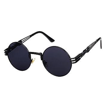 Lunettes de soleil,LHWY Rond carré Vintage lunettes de soleil miroir de haute qualité extérieure sport Lunettes (Or, H)