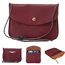 """Universal Cell Phone Cross-body Purse,Horizontal Shoulder Bag Soft PU Leather Carrying Cases for Apple iPhone 6s/6 Plus iPhone 6/6s,Samsung Galaxy S6 and Note Series and Phones Under 5.5""""-Red"""