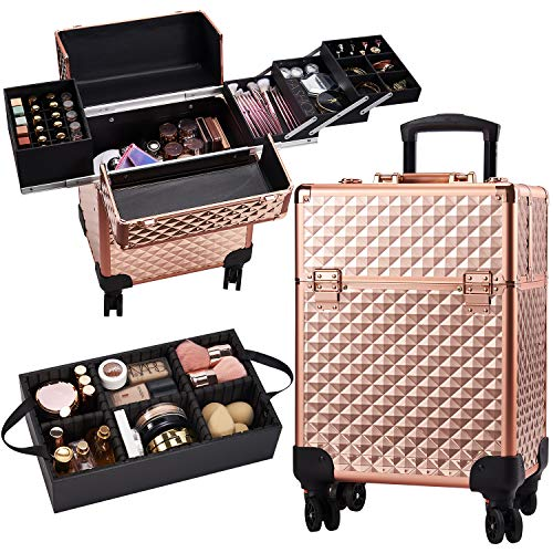 Beauty Rolling Makeup Train Case Cosmetic Trolley 4 Tray Sliding Rail Removable Middle Layer with Key Swivel Wheels Salon Barber Case Cosmetic Organizer Storage Large Travel Case - Rose Gold Diamond