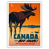 Canada for Big Game! Travel Canadian Pacific Railway - Vintage Railroad Travel Poster by Peter Ewart c.1950 - Master Art Print - 9in x 12in
