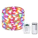 Rarlight 100 LED String Lights Battery Operated, Waterproof Fairy String Lights with Remote Control Timer 8 Modes 33ft Copper Wire Christmas Lights (Twinkle Lights, Multi Color)
