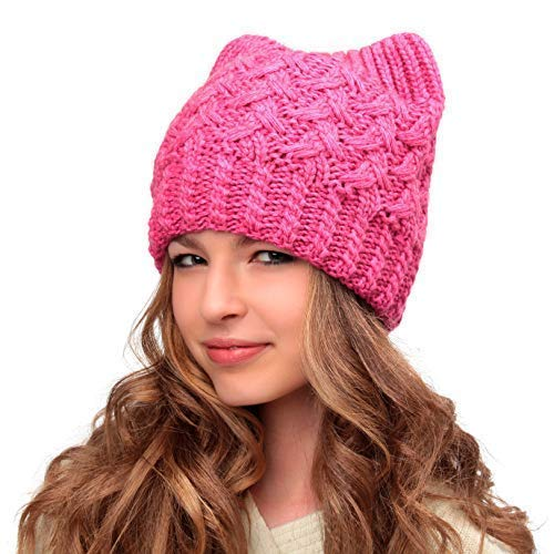 ef37dd8e87a Image Unavailable. Image not available for. Color  Hats Cats Pink Pussy Cat  Hat-Handmade Beanie Hat-Winter ...