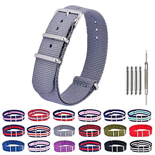 - Nylon Watch Bands NATO Watch Strap Replacement Fabric Ballistic Military 18mm 20mm 22mm Grey