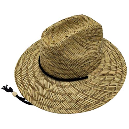 UNBRUVO Men's Straw Sun Classic Beach Hat Raffia Wide ()