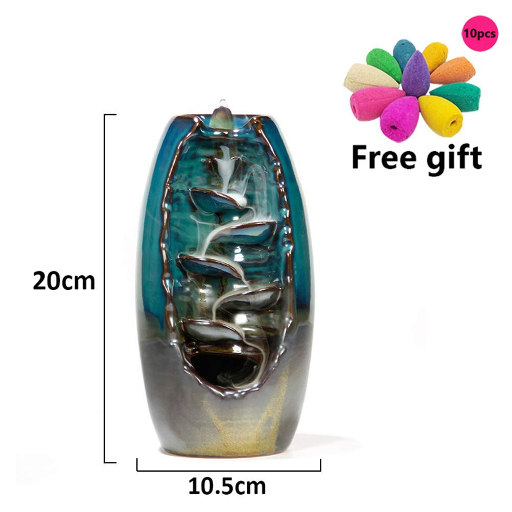 SaPeal Ceramic Waterfall Backflow Incense Burner Incenser Holder Home Decor Aromatherapy Ornament+ 10 Cone Incense Free