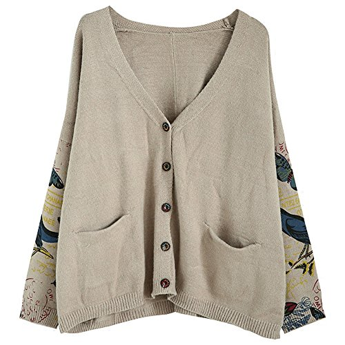 IDEALSANXUN Womens Single-Breasted Long Sleeve Printed Knit Cardigan Sweater Spring Autumn Tops (Grey, Medium) (Printed V-neck Cardigan)