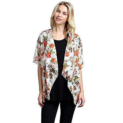 Color Swatch New Women's Chiffon Floral Print Open Front Draped Shawl Cardigan L, - Sale Swatch For