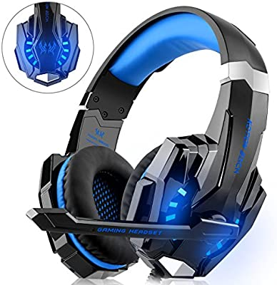 DIZA100 - Auriculares para Videojuegos para PS4, Xbox One, Ordenador, con micrófono, luz LED, Bass Envolvente, Carcasa de Aluminio para Ordenador, ...