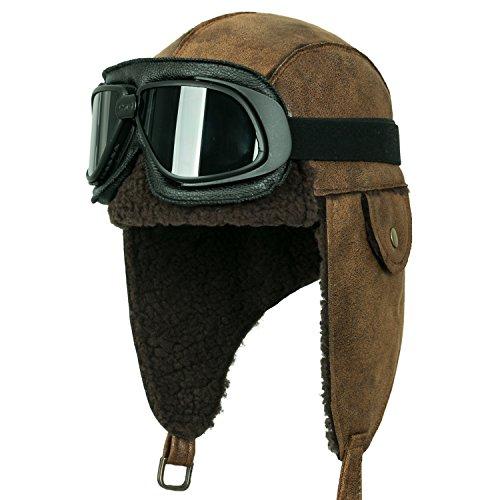 ililily Aviator Hat Winter Snowboard Fur Ear Flaps Trooper Trapper Pilot Goggles, Black goggle, Light Brown