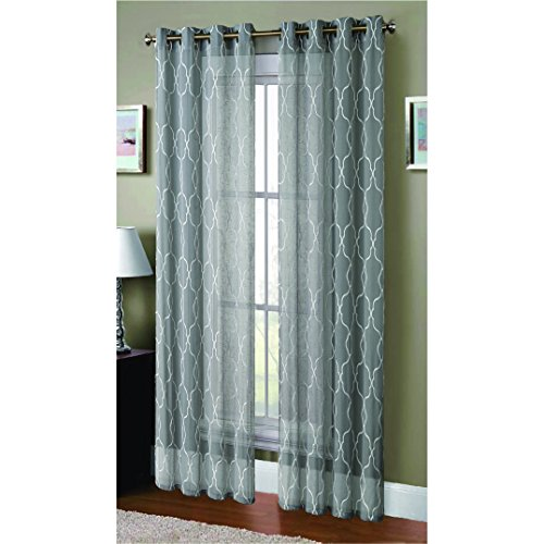 Window Elements Boho Embroidered Sheer Faux-Linen Extra Wide 108 x 96 in. Grommet Curtain Panel Pair, (Window Covering Ideas)