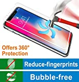 Screen Protector for iPhone X, BENOKER Tempered Glass Screen Protector Compatible with iPhone X - 9H Hardness, Anti-Fingerprints, HD, Bubble Free, Full Coverage (iPhone X - White)