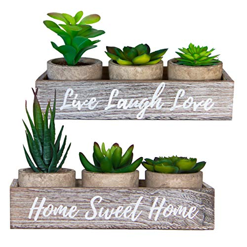 6 Artificial Succulent Plants in Pots and 2 Rustic Wooden Box Planters – Home Sweet Home & Live Laugh Love | Realistic…