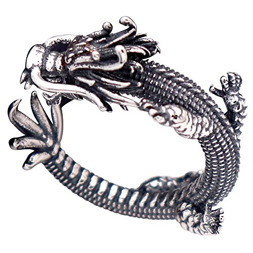 Dragon Chinese Sterling Silver - Vintage Unique Black 925 Sterling Silver Chinese Dragon Pinky Ring with Cubic Zironia for Men Women