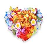 40PCS Tropical Hawaiian leis Ruffled Flowers Necklaces And 10 Pieces Hawaiian Luau Flower Lei Hair Clip for Party Supplies,Birthday Party Favors,Easter Decorations