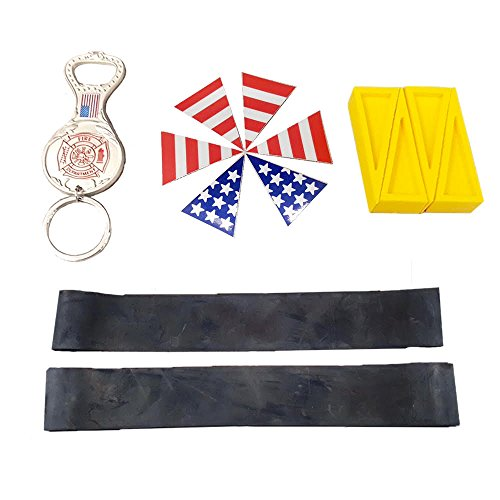 Firefighter EMT Paramedic Fire Helmet Kit - Traditional Fire Helmet - Rubber Helmet Bands - USA Helmet Flag Set - Sprinkler Door Open Wedges - Firefighter Bottle Opener (Traditional Fire Helmet)