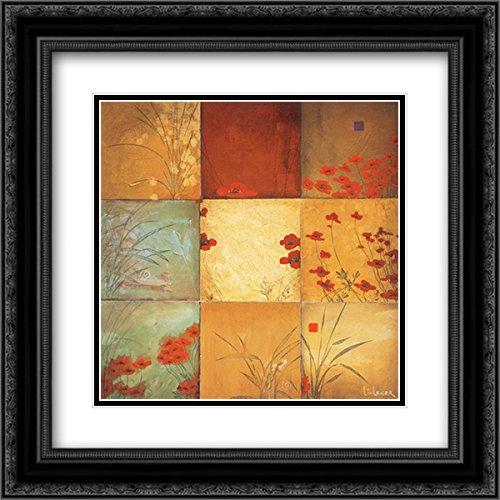 Poppy Nine Patch 2x Matted 20x20 Black Ornate Framed Art Print by Li-Leger, ()
