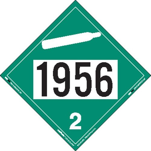 Labelmaster ZEZ31956 UN 1956 Non-Flammable Gas Hazmat Placard, E-Z Removable Vinyl (Pack of 25)