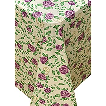 Amazon Com Rose Time Flannel Backed Vinyl Tablecloth