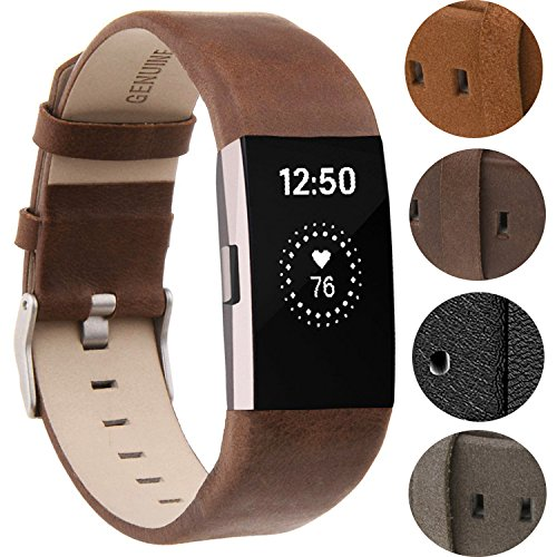 Design Genuine Leather (For Fitbit Charge 2 Wristbands/Fitbit Charge 2 Bands//Fitbit Charge 2 Replacement Bands/Fitbit Charge 2 Accessories, VOMA Design Genuine Leather Chocolate Brown)