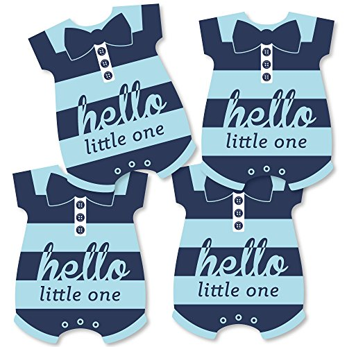 Hello Little One - Blue and Navy - Baby Bodysuit Boy Baby Shower Decorations DIY Party Essentials - Set of 20