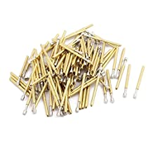 uxcell® 100pcs P75-G2 1.0mm Dia 16.6mm Length Metal Spring Pressure Test Probe Needle