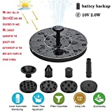 Volwco Upgraded 2.0W Solar Fountain Pump Bird Bath Pump with Solar Rechargeable Battery, Portable Submersible Free Standing Outdoor Water Fountain Panel Kit for Bird Bath,Small Pond,Garden and Lawn