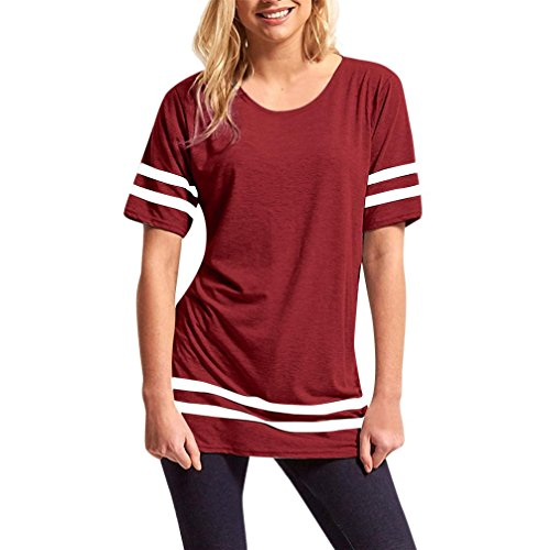 Women Summer Tops Todaies❤Womens Ladies Stripe Baggy Top Short Sleeve Sport Pullover T Shirts Wine Red,Gray,Blue Blouse (L, Wine Red) Red Stripes Wine