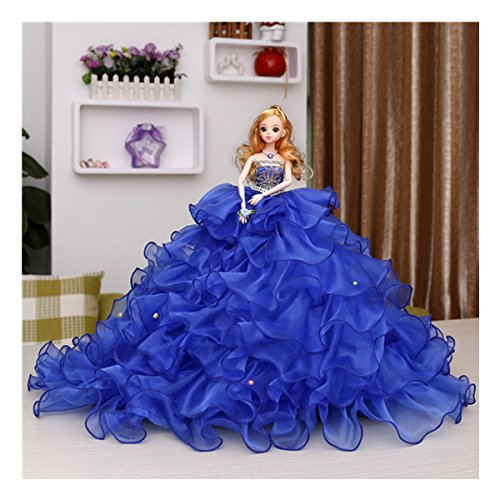Kingbridal Blonde Bride Dolls Royal Blue Organza Tiered Wedding Dress Princess Girls Barbie dolls Handmade Fashion Wedding Party Gowns Dresses Clothes girls kids birthday holidays Christmas Xmas Gifts by Kingbridal