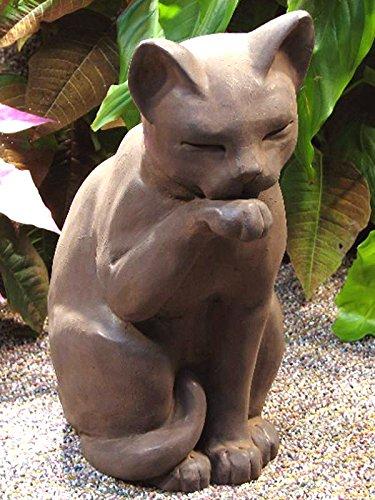 Gentil CAT Cleaning STATUE 12u0026quot; Kitten Sculpture DARK BROWN Cast CEMENT