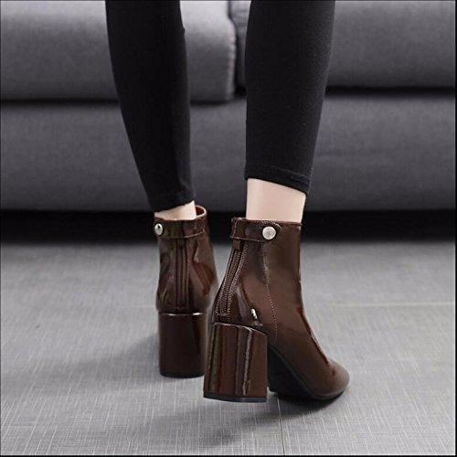 Kopf New Weibliche Stiefel Gemalten Stiefel Party KHSKX Des Leder Brown Leders Dem Reißverschluss Mit Version Stiefel 36 Koreanische Plus Samt Baumwolle Winter 7Cm Martin Rau Stiefel Auf Kurze ww64xC7q