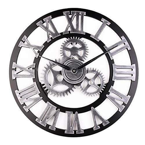 HCGZ Gear noiseless Wall Clock, 3D Retro Vintage European Roman Digital Living Room Office Metal Clock Art Clock Accurate Sweep Movement-B ()