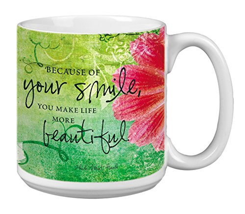 Tree-Free Greetings Extra Large 20-Ounce Ceramic Coffee Mug, Your Smile Themed Inspiring Quote Art (XM29473)]()