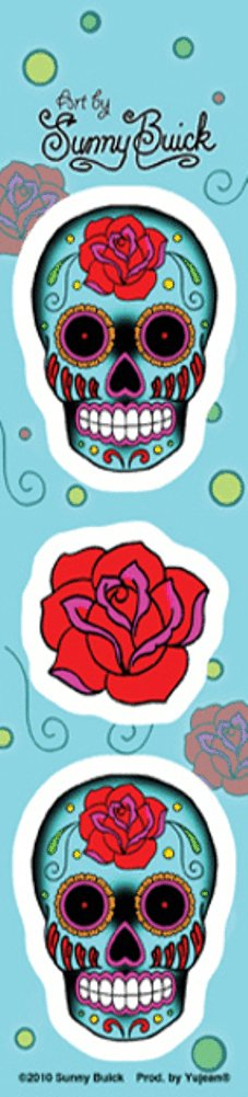 Sunny Buick - Mini 2 Rose Skull Strip autocollant Sticker - 1.75' x 7.5' - Weather Resistant, Long Lasting for Any Surface